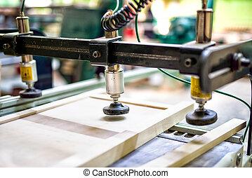 asse legno, montaggio, a, legno, e, mobilia, fabbrica