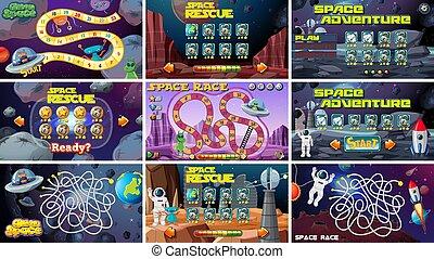 asse, set, giochi, spazio, themed