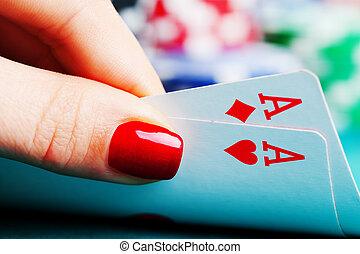 asse, spielen chips, zwei