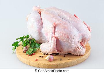 asse, taglio, crudo, bianco, isolato, pollo, carcassa, fondo
