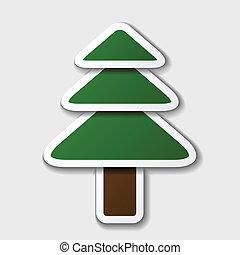 asseado, símbolo, papel, árvore, vetorial