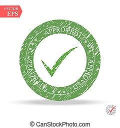 assegno, decisione, ok, corretto, bottone, web., illustrazione, voto, simbolo, vettore, cerchio, approvato