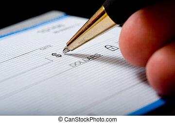 assegno, scrittura