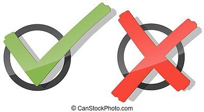 assegno, verde, croce, rosso, marchio