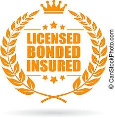 assegurado, licenciado, bonded, negócio, ícone