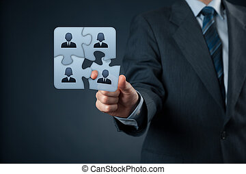 Assemble a team concept. Business team, human resources cooperation, connection and unity concepts. Good team fit together like puzzle pieces.