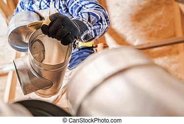 Assemble Of Air Ventilation Shaft Elements.