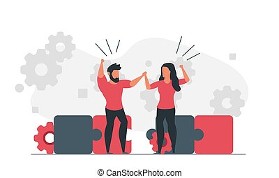 Assemble the puzzle together as a team. People are trying to solve a problem. Man and woman working on solution concept vector illustration