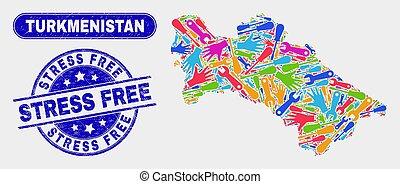Assemble Turkmenistan Map and Distress Stress Free Stamp Seals
