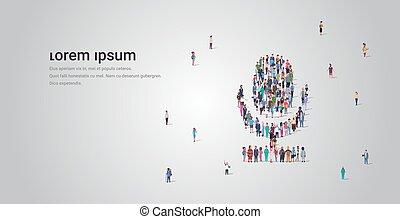 assemblea, concetto, folla, persone, comunità, forma, tecnologia, occupazione, standing, microfono, gruppo, spazio, media, mic, sistema, pieno, differente, orizzontale, copia, personale, insieme, lunghezza, sociale, audio