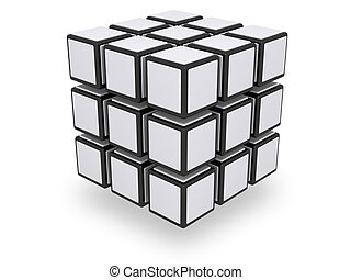 Assembled whole 3x3 cube with floating parts Note to editor: This isn't a Rubik cube, this is why I upload as RF. Rubik's cube elements are connected, also the white plates are attached only on the exterior side of the elements. If you consider too similar to the copyrighted version, feel free to ...