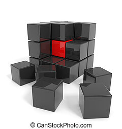 Assembled black cube with red core. Computer generated...