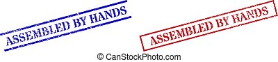 ASSEMBLED BY HANDS Grunge Rubber Stamp Watermarks with Rectangle Frame