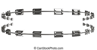 A set of assembled metal braces used for orthodontic teeth straightening on an isolated white background