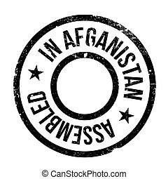 Assembled in Afganistan rubber stamp. Grunge design with...
