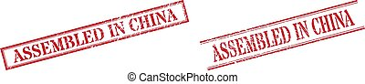 ASSEMBLED IN CHINA Textured Rubber Seal Stamps with Double Rectangle Frame