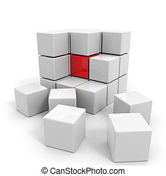 Assembled white cube with red core. Computer generated...