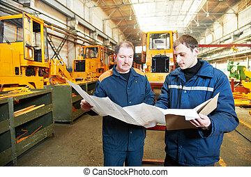 assembler, ouvriers, industriel, expérimenté