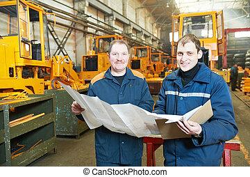 assembler, trabalhadores, industrial, experimentado