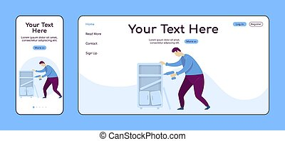 Assembling furniture adaptive landing page flat color vector template. Handyperson with drill mobile and PC homepage layout. Repairman one page website UI. Home repairs webpage cross platform design