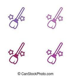 assembly bright stickers witch magic broom with stars