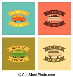 assembly flat icons Back to school bus