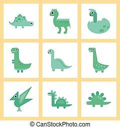 assembly flat icons cartoon dinosaur
