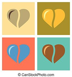 assembly flat icons coffee bean heart