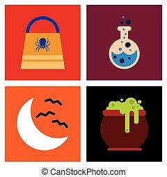assembly flat icons halloween bag potion bottle moon bats cauldron