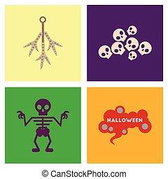 assembly flat icons halloween skeleton sign chicken feet skulls