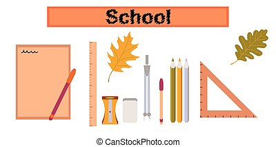 assembly flat icons on stylish background pencils pens ruler