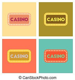 assembly flat icons poker casino sign