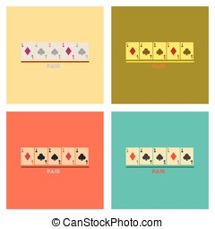 assembly flat icons poker pair cards