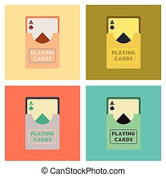 assembly flat icons poker playing cards