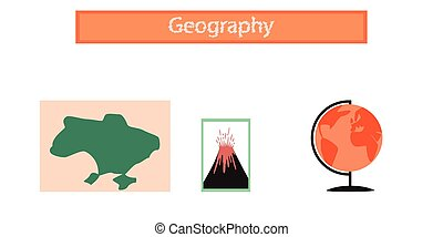 assembly flat icons subjects of study geography