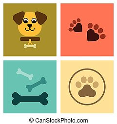 assembly flat icons traces of dog bones - assembly of flat...