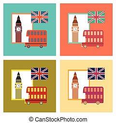 assembly flat icons United Kingdom set