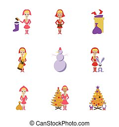 assembly flat illustration Christmas girl snowman Tree gift box