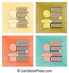 assembly flat shading style icon schoolboy books