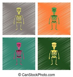 assembly flat shading style icon skeleton Halloween monster...