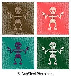 assembly flat shading style icons halloween skeleton -...