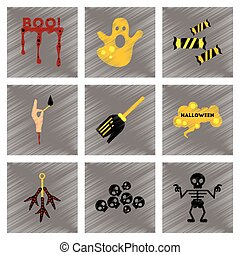 assembly flat shading style icons halloween boo ghost...