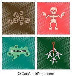 assembly flat shading style icons halloween skeleton sign...