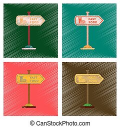 assembly flat shading style icons fast food sign