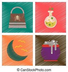 assembly flat shading style icons halloween bag potion bottle moon bats cauldron