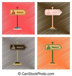 assembly flat shading style icons mall sign