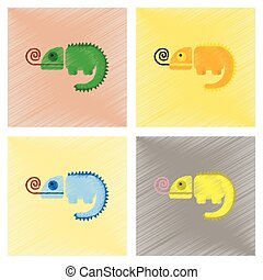 assembly flat shading style icons reptile chameleon