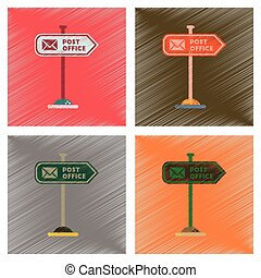 assembly flat shading style icons sign post office