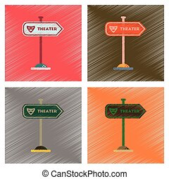assembly flat shading style icons theater sign