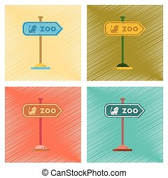 assembly flat shading style icons Zoo sign